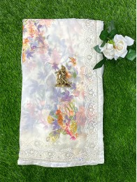 Chiffon Georgette Floral Off White Saree