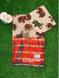 Cotton Printed Biscuit And BrickRed Saree