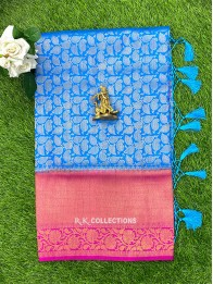 Soft Silk AllOver CopperSulphateBlue And Pink Saree