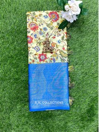 Semi Linen Print Lemon Yellow And Coppersulphate Blue Saree