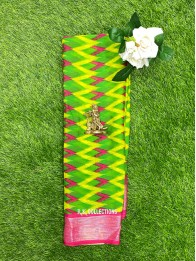 Chiffon Georgette Ikkath Printed Parrot Green And Pink Saree