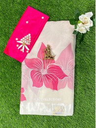 Fancy Chiffon Printed Off White And Pink Saree