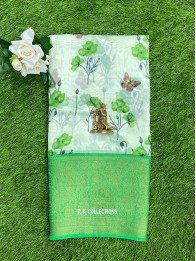 Lenin And Chanderi Mix Floral Off White And Green Saree