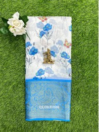 Lenin And Chanderi Mix Floral Off White And Dark SkyBlue Saree