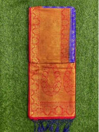 Soft Silk LeafButty RoyalBlue And Maroon Saree