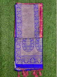 Soft Silk LeafButty Pink And RoyalBlue Saree