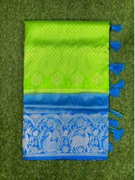 Soft Silk Brocad Green And CopperSulphateBlue Saree