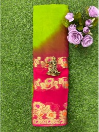 Chiffon Georgette Creeper ParrotGreen And Pink Saree