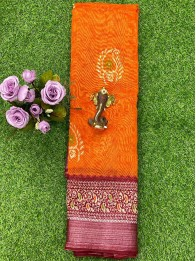 Jute Lenin Butta Orange And Maroon Saree