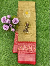 Jute Lenin Butta Dark Gold And Maroon Saree