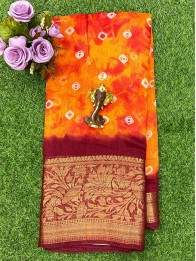 Jute Lenin Bandhini Orange And Red Mix And Maroon Saree