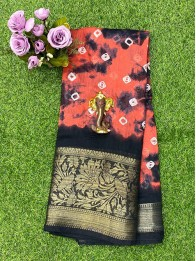 Jute Lenin Bandhini Red And Black Saree