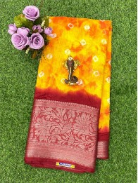 Jute Lenin Bandhini Mustard And Orange Mix And Maroon Saree