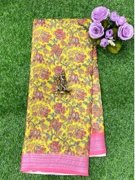 Cotton Lenin Silk AllOver Yellow And Green Mix And Pink Saree