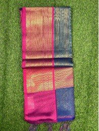 Banarasi Kora Silk PeacockBlue And Pink Saree