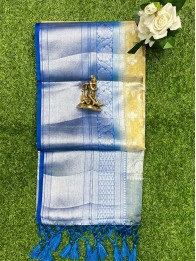 Tissue FlowerButty Gold And Silver Mix And Blue Saree