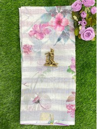 Lenin Floral Print Lavender And Green And Pink Saree