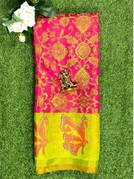 Chiffon Brasso Butterfly Butta Pink And ParrotGreen Saree