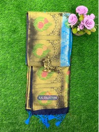 Banarasi Silk Pithani CopperSulphateBlue And NavyBlue Saree