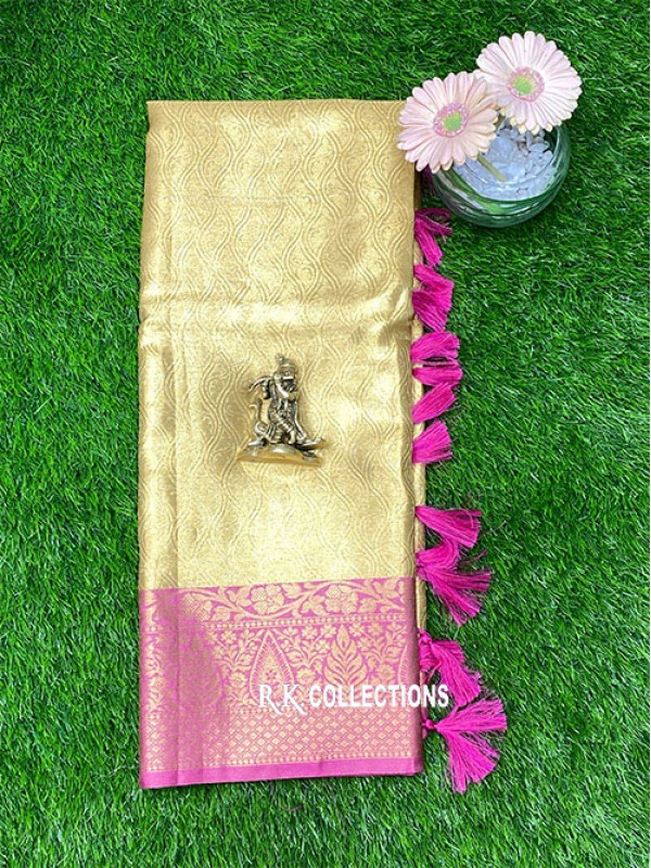 Tissue Weave Gold And Pink Saree
