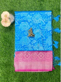 Soft Silk Flower CopperSulphateBlue And Pink Saree