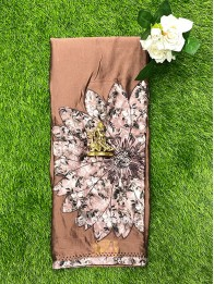 Georgette AppliqueWork Coffee And Brown Mix Saree