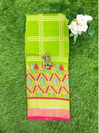 Brasso Weaving Checks Ikkath ParrotGreen And Pink Saree