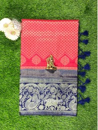 Soft Silk Tomato Red And Navy Blue Saree