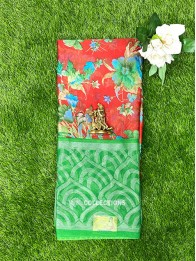 Organdy Silk Floral Red And Green Saree
