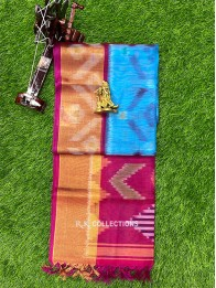 PochamPally Sico Coppersulphate Blue And Pink Saree