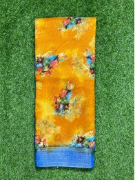 Jute DigitalPrint MustardYellow And RoyalBlue Saree