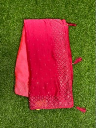 Crepe Silk Tomato Red And Pink Saree