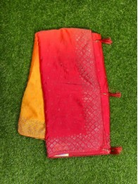 Crepe Silk Red And Mustard Saree