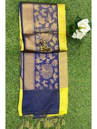 Banarasi Silk LemonYellow And Green Mix And Blue Saree
