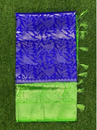 Banarasi Soft Silk AllOver RoyalBlue And Green Sraee
