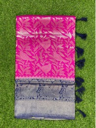 Banarasi Soft Silk AllOver Pink And NavyBlue Saree
