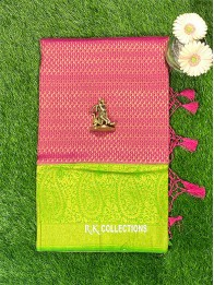 Soft Silk Ranipink And Parrotgreen Saree With Banarasi Borders