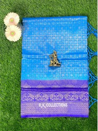 Soft Silk CopperSulphateBlue And RoyalBlue Saree With Banarasi Borders