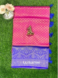 Soft Silk RaniPink And RoyalBlue Saree With Banarasi Borders