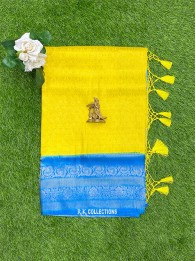 Soft Silk Lemon Yellow And Coppersulphate Blue Saree
