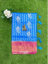 Soft Silk Coppersulphate Blue And Pink Saree