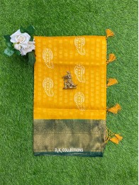 Soft Silk Yellow And Bottle Green Saree