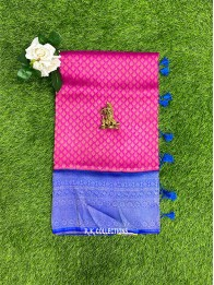 Soft Silk Pink And Dark Coppersulphate Blue Saree