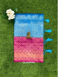 Soft Silk Lines Coppersulphate Blue And Pink Saree