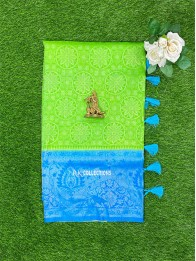 Soft Silk Parrot Green And Coppersulphate Blue Saree