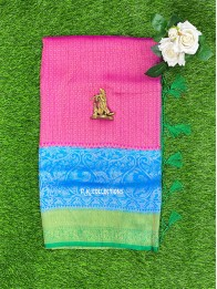 Soft Silk Pink And Coppersulphate Blue And Green Saree