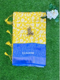 Soft Silk Yellow And Dark Coppersulphate Blue Saree