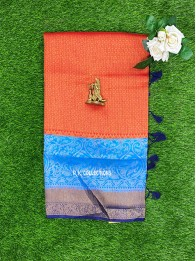 Soft Silk Red And CopperSulphateBlue And NavyBlue Saree